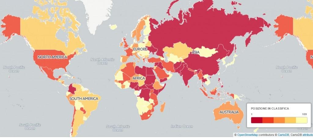 Mappa dei paesi a rischio